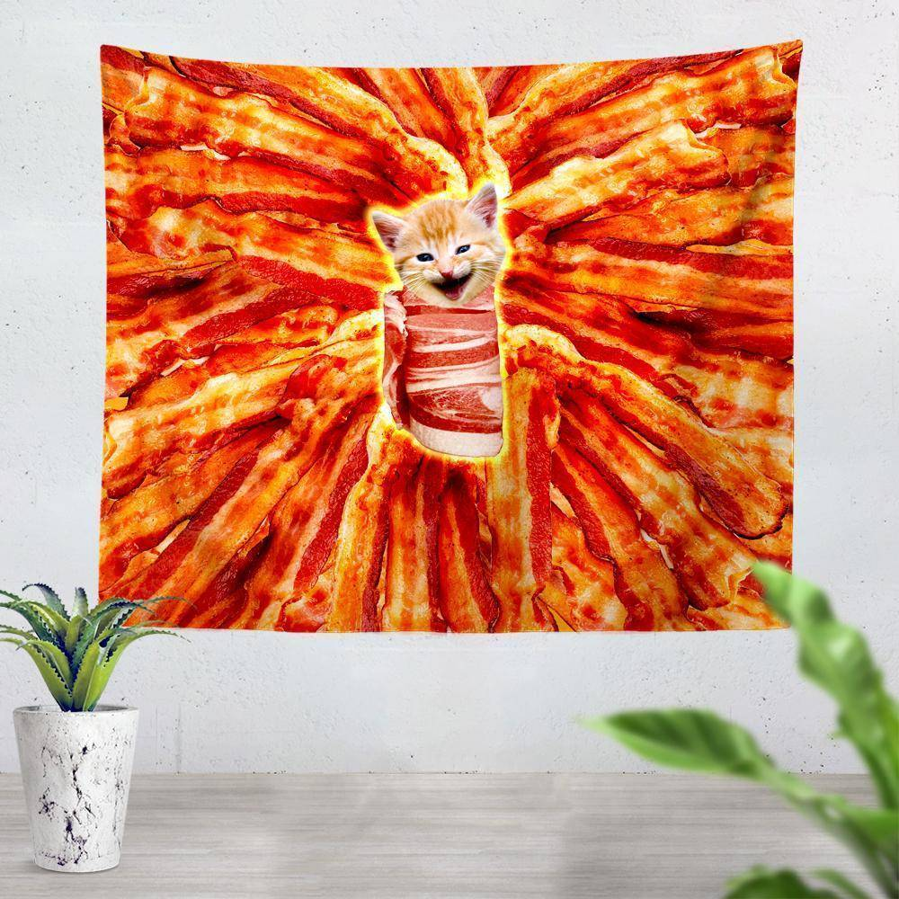 On Cue Apparel Bacon Cat Tapestry - iEDM