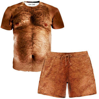 On Cue Apparel - Hairy Chest T-Shirt And Shorts Combo