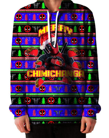 On Cue Apparel - Merry Chimichanga Ugly Hoodie