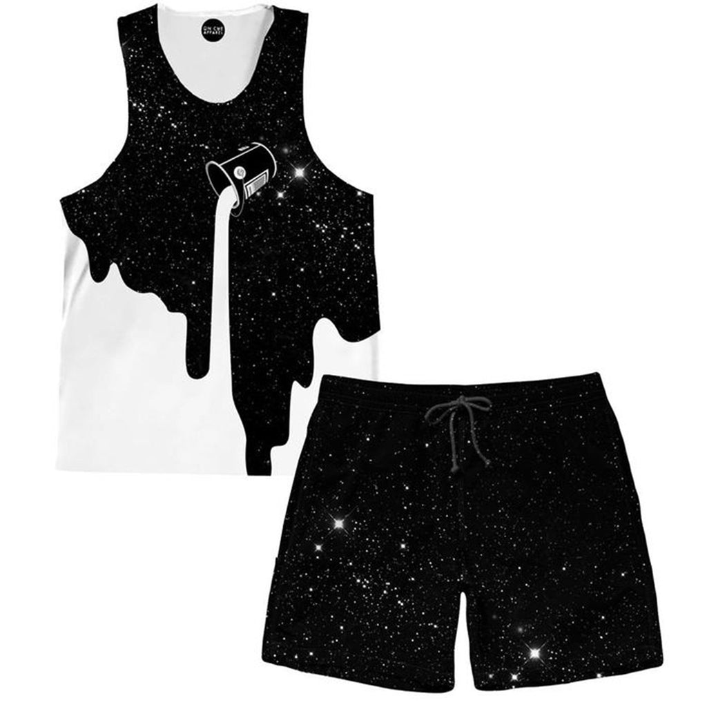 On Cue Apparel Milky Way Tank and Shorts Combo