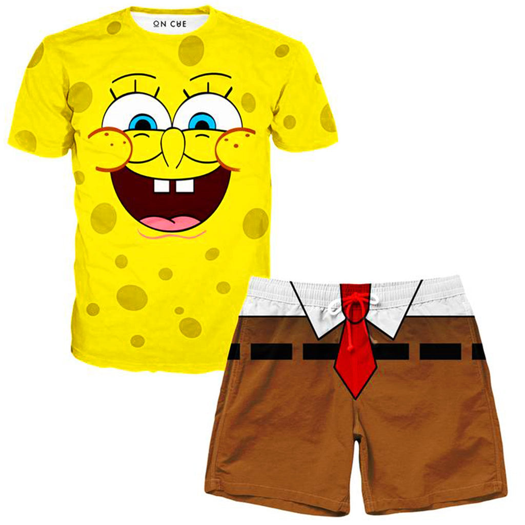 On Cue Apparel Spongebob T-Shirt And Shorts Combo