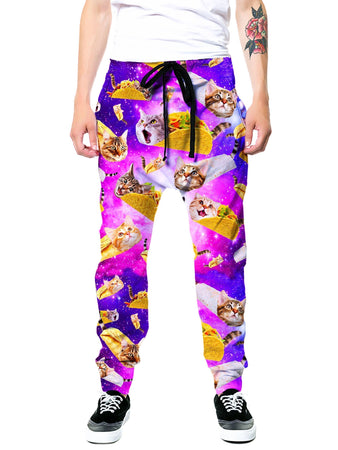 On Cue Apparel - Tacos and Cats Purple Joggers