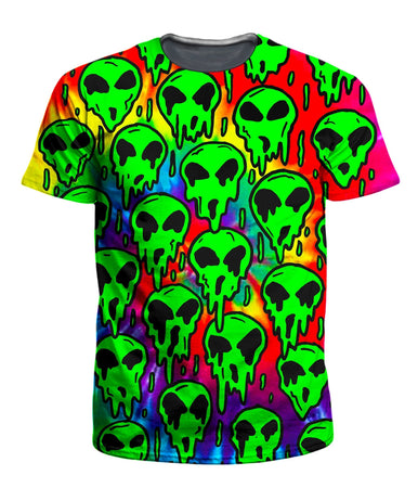 On Cue Apparel - Trippy Green Martian Men's T-Shirt (Ready To Ship)