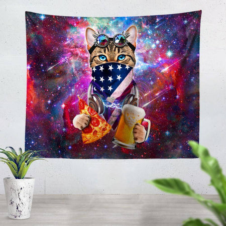 On Cue Apparel - USA Rave Cat Tapestry