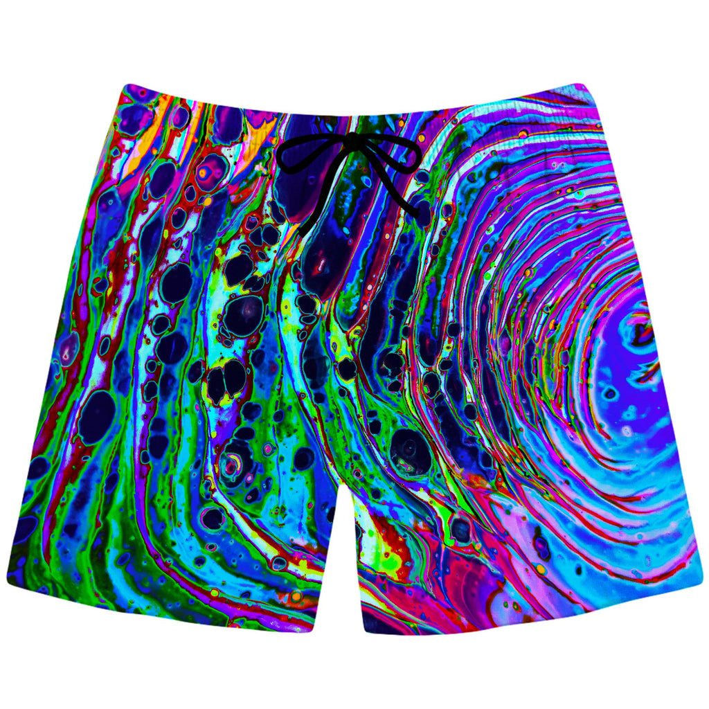 Psychedelic Pourhouse Cosmic Vortex Swim Trunks - iEDM