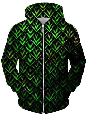 Ready To Ship - Galactic Dragon Scale Green Unisex Zip-Up Hoodie (Ready To Ship)