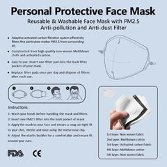 Riza Peker Floral Dorian Anti-Germ & Pollution Mask With (4) PM 2.5 Carbon Filters - iEDM