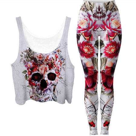 Riza Peker - Floral Skull Crop Top and Leggings Combo