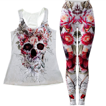 Riza Peker - Floral Skull Women's Tank and Leggings Combo