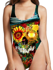 Riza Peker Skull Lover High Cut One-Piece Swimsuit
