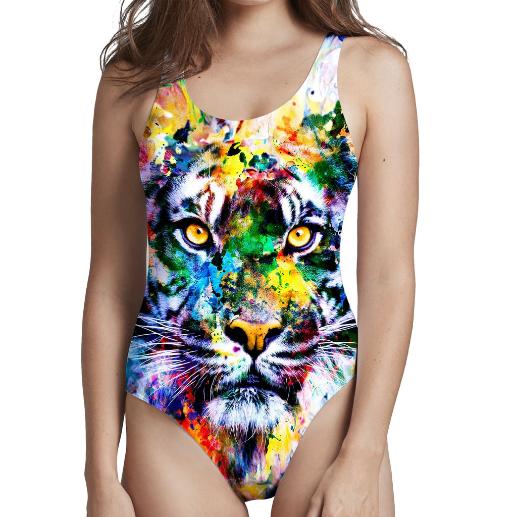 Riza Peker Tiger Low Cut One-Piece Swimsuit