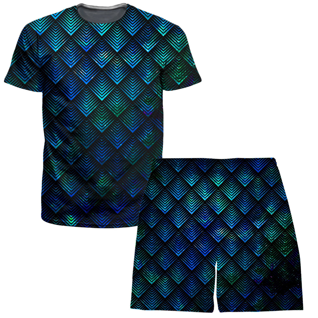 Set 4 Lyfe Galactic Dragon Scale Teal T-Shirt and Shorts Combo