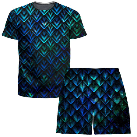 Noctum X Truth - Galactic Dragon Scale Teal T-Shirt and Shorts Combo