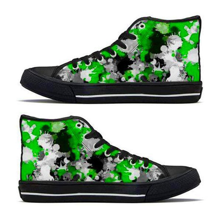 Shoes - Green and Grey Paint Splatter High-Top Sneakers