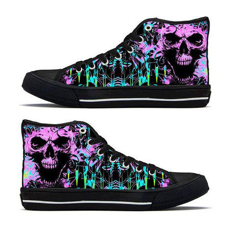 Shoes - Skull Graffiti High-Top Sneakers