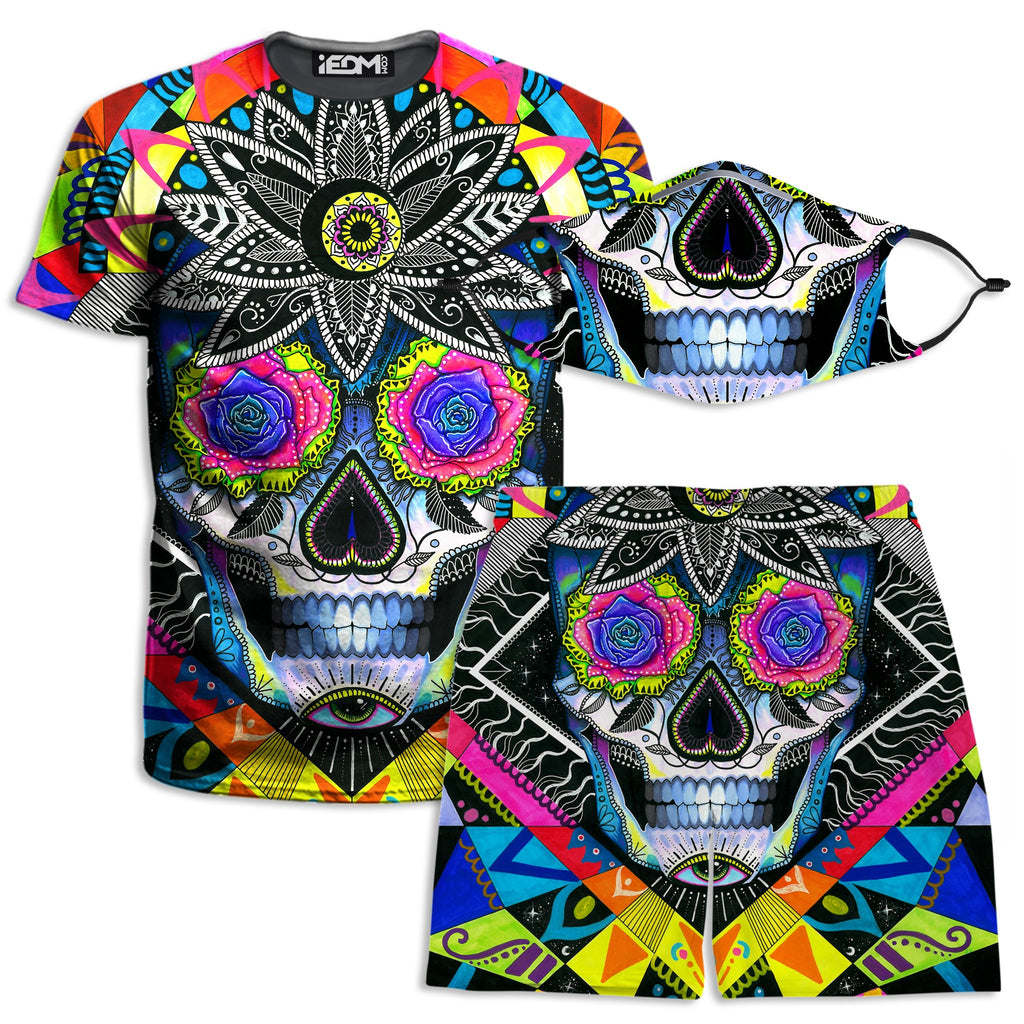 Svenja Jodicke Suger Skull T-Shirt and Shorts with PM 2.5 Face Mask Combo - iEDM