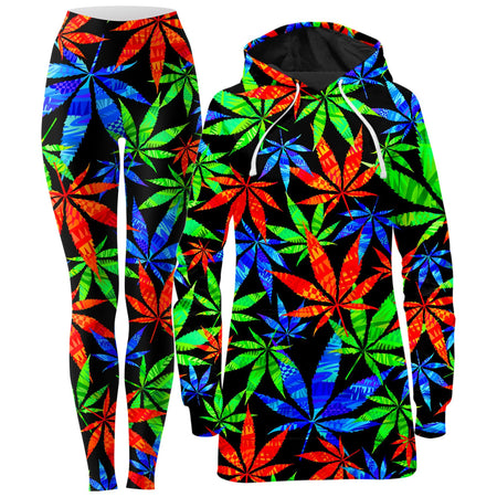 Technodrome - Weed Hoodie Dress and Leggings Combo