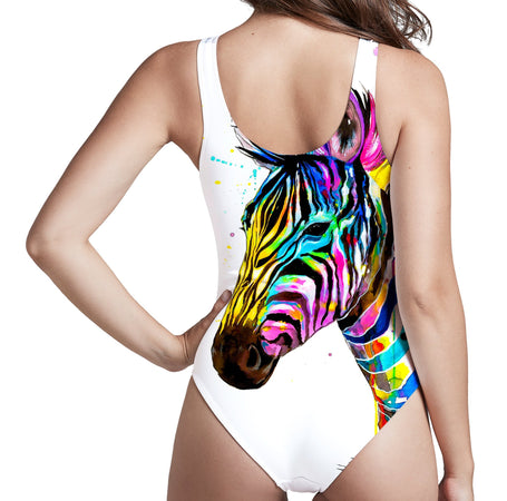 Svenja Jodicke - Zebra Bunt Low Cut One-Piece Swimsuit