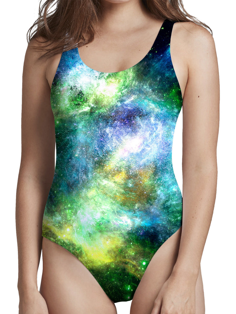 Yantrart Design Green Psychedelic Nebula Low Cut One-Piece Swimsuit - iEDM