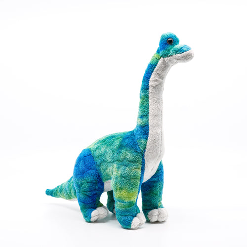 Green and blue long neck plush dinosaur.