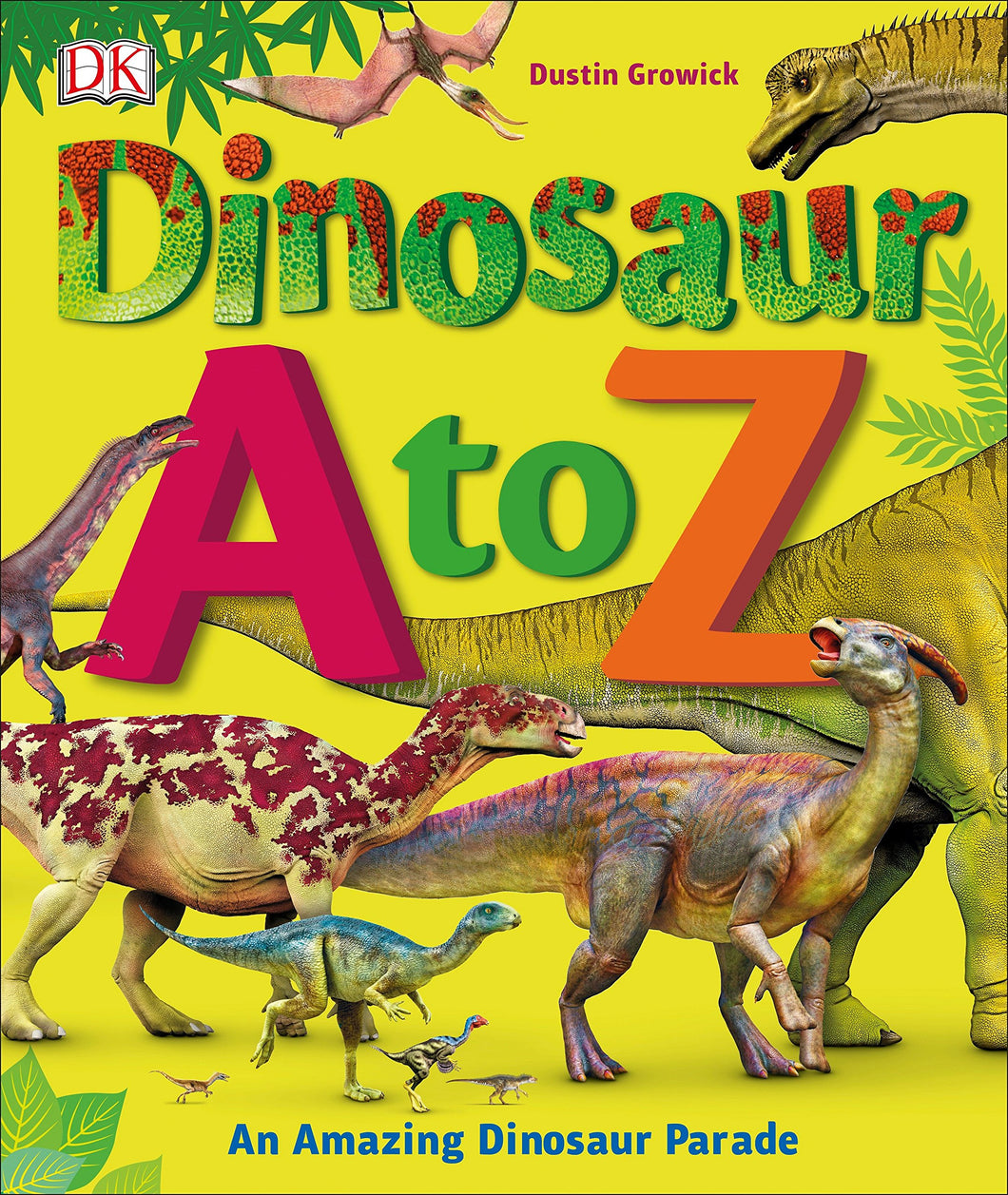 Junior book of alphabetically listed dinosaurs  with realistic illustrations, bright yellow cover with a parade of dinosaurs.