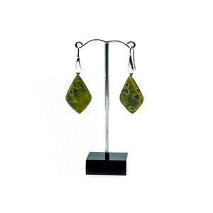 Green serpentine with purple stichtite diamond shaped silver drop earrings.s