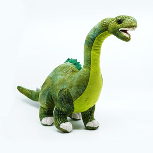 Plush green long necked dinosaur with mouth open