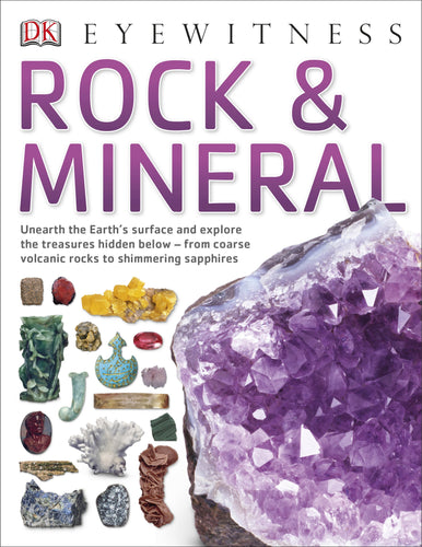 Children's book with colourful photographs of rocks and minerals with large amethyst cluster on the cover.