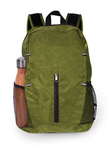 Green backpack.