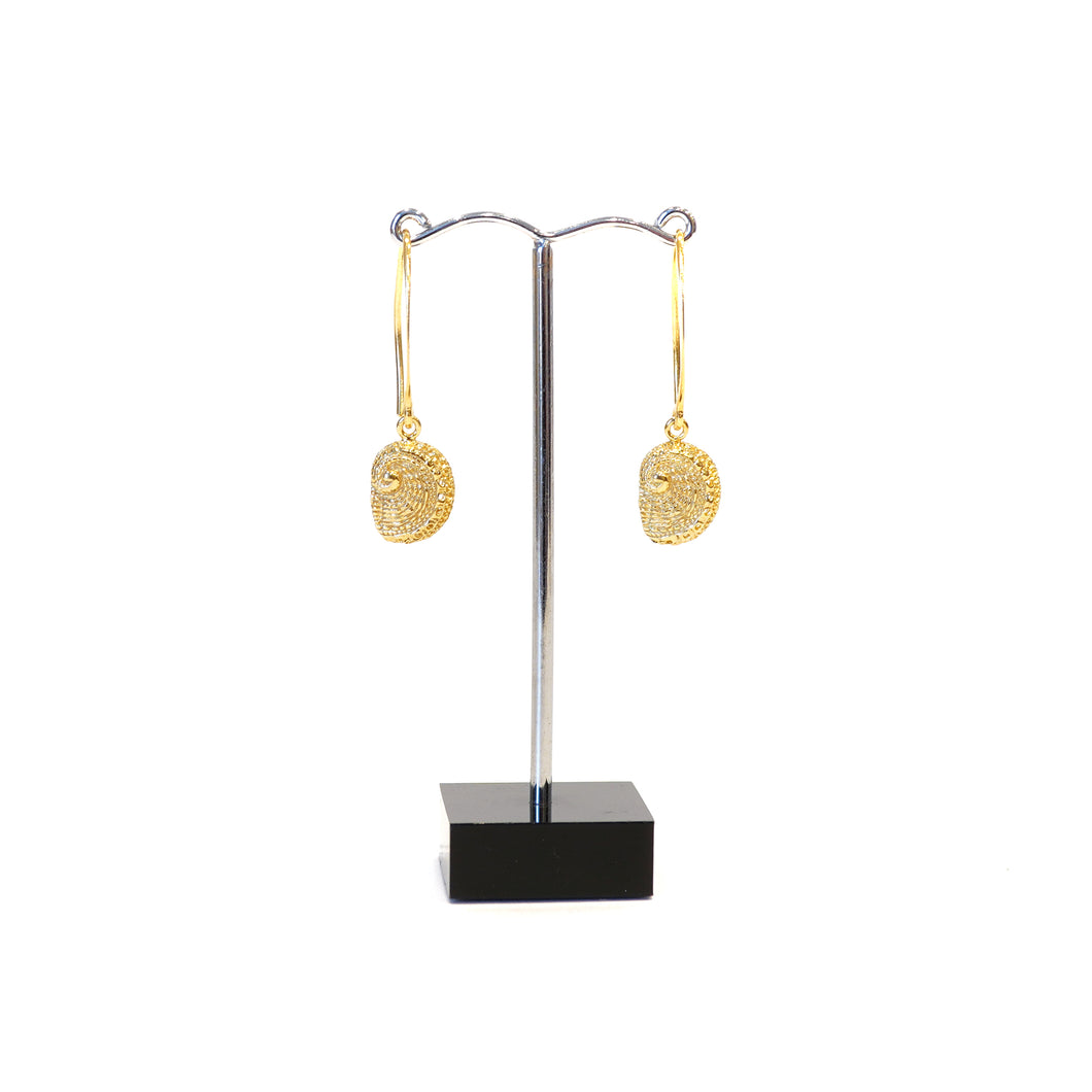 Abalone shell dangle earrings on long hooks 22k gold plated