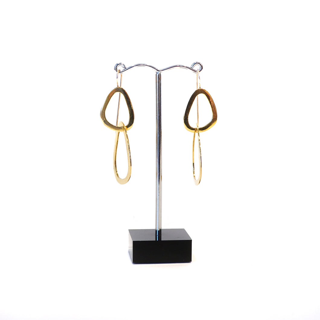 Double looped pebble shape dangle hook brass and silver earrings