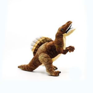 Plush small spinosaurus with smiley open mouth.