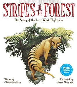 Illustrated Thylacine in ferns.