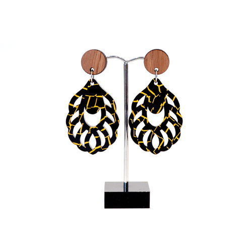 wood and acrylic dangle stud earrings, black and gold .