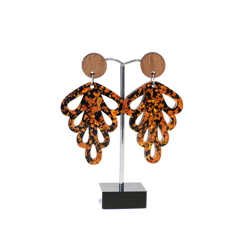 Copper and black acrylic, wooden disc stud drop earrings.