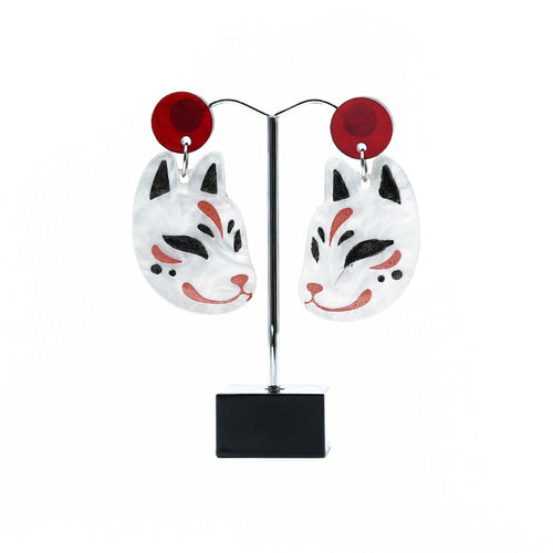 Japanese stylised cat statement earrings.