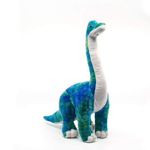 Green and blue long neck plush dinosaur