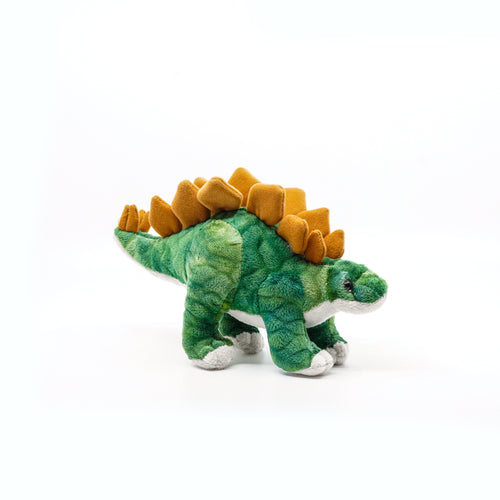 Plush green and brown Stegosaurus.