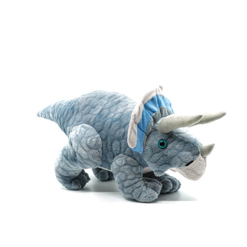 Grey and blue plush triceratops.
