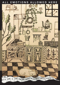 Black line drawing of kitchen with cat and plants.