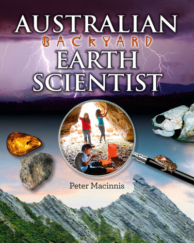 Children's book of earth sciences with magnifying glass and fossils on cover.