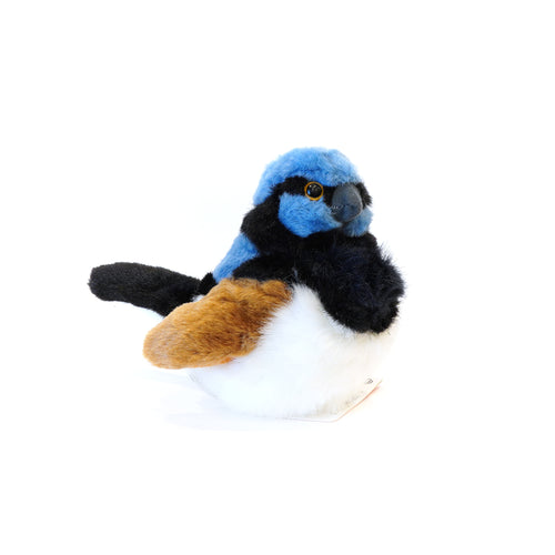 Little plush sitting Blue Wren.