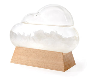 Glass cloud shape with white crystals.