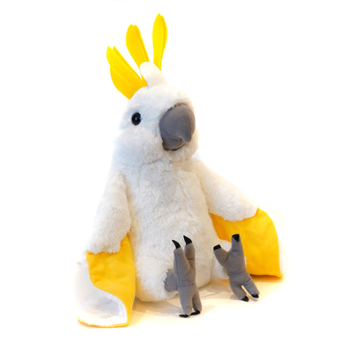 Plush sitting cockatoo.
