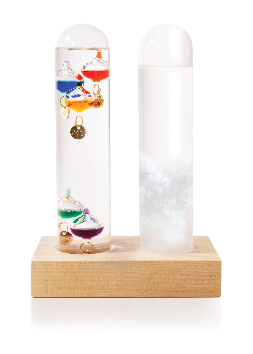 Glass tube shape with white crystals; glass tube with temperature balls.