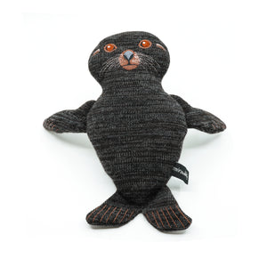 Plush seal made from knitted material with stitched features.