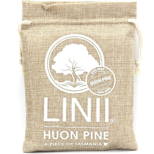 Jute bag filled with Huon Pine.