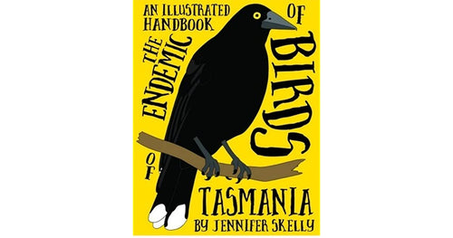 illustrated black currawong on yellow background.