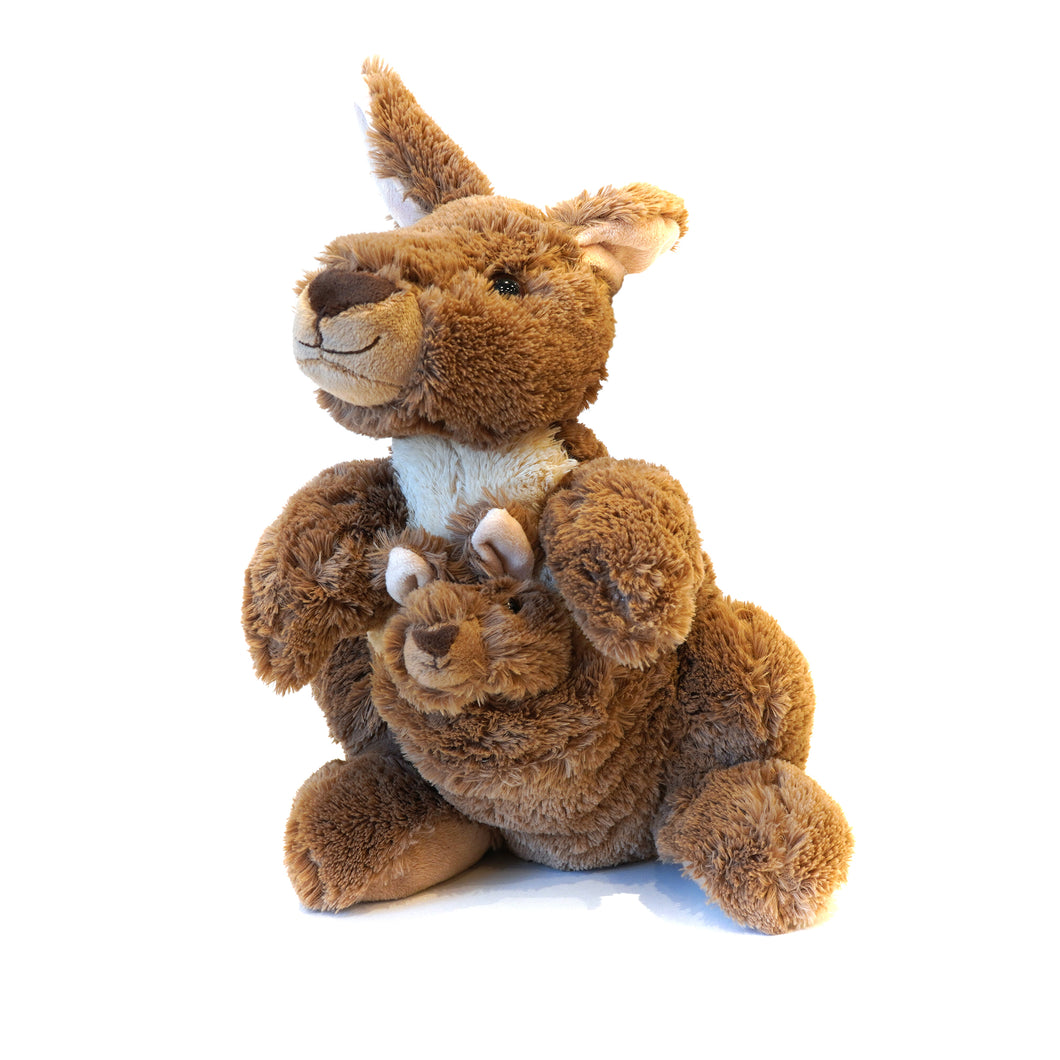 Cuddly plush brown kangaroo with removable joey in pouch.