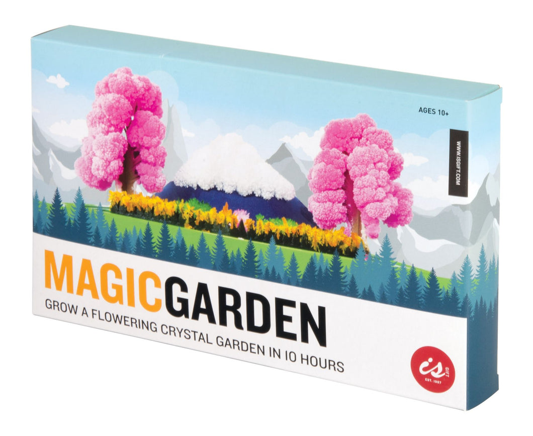 Colourful pink crystal trees, yellow flowers and green grass on box.